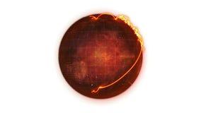 Animated orange Earth globe spinning stock footage