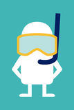 Animated personality diver. Animated fictional character diver in mask and snorkel vector illustration