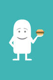Animated personality gourmand man. Animated fictional character holding a burger Stock Photos