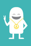 Animated personality pacifist. Animated fictional character shows sign peace vector illustration