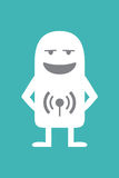 Animated personality radioanchorman. Animated fictional character with a radio antenna on the body stock illustration