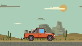 Animated pickup truck with boxes in the trunk riding through canyon desert . Moving delivery car on desert landscape