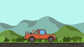Animated pickup truck with boxes in the trunk riding through green valley. Moving delivery car on hilly landscape. Background. Flat animation vector illustration