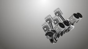 Animated pistons coated with 3D mesh on a gray background