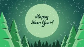 Animated Post card New Year in forest stock video