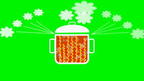 Animated pot with boiling contents., rising bubbles, swinging lid, ascending steam. Headline it is hot. Useful for buzz stock video footage