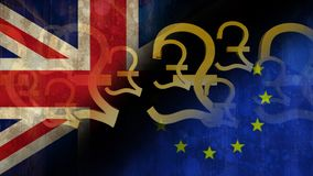 Animated Pounds Video. Animated Pounds against EU and british flag background stock video