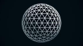 Animated que gerencie a esfera branca abstrata construída com pontos de incandescência, cruzou linhas, laço sem emenda Sumário ilustração do vetor