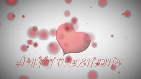 Animated red heart and inscription Happy Valentine stock footage
