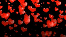 Animated red hearts soar over black background