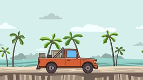 Animated red pickup truck with boxes in the trunk riding on the beach. Moving delivery car on seascape, side view. Flat. Animation stock footage