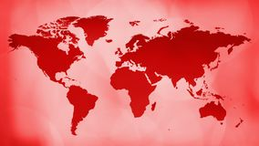 Animated red world map, live tv news background. Breaking tv news world map intro concept, abstract background stock video footage