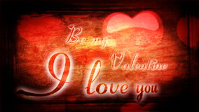 Animated romantic inscription I love you and heart in background for Valentine's stock video