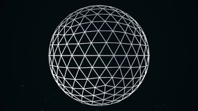 Animated rotating abstract white sphere constructed with glowing points, crossed lines, seamless loop. Abstract