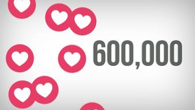 Animated shot of 1,000,000 likes being counted with thumping hearts on a social media page. 4K video royalty free illustration