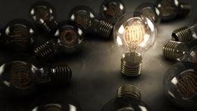 Animated Single 3D Illustrated Incandescent Light Bulb Surrounded by Multiple Bulbs on a Reflective Surface