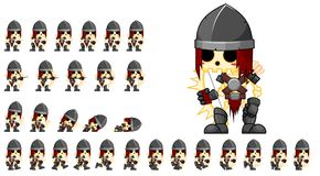 Animated Skeleton Archer Character Sprites. Animated sprites for skeleton archer character for creating fantasy RPG adventure video games Vector Illustration