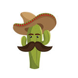 Animated sketch cactus with mexican hat and moustache Stock Photo