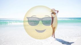 Animated Smiley and women looking at the sea stock video footage