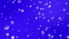 Animated snowflakes falling on blue background stock video footage