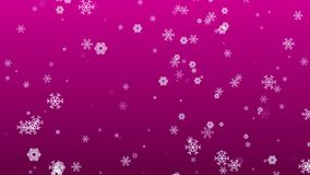Animated snowflakes falling on magenta background stock video