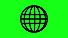 Animated spinning globe. Globe Icon 360 in green screen. Parallels and Meridians stock footage