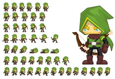 Animated Archer Character Sprites royalty free illustration
