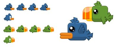 Animated Cute Bird Character Sprites. Animated sprites for cute monster character for creating fantasy adventure video games Stock Photography
