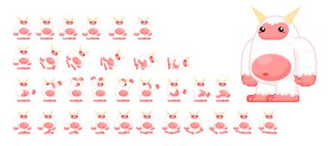 Animated Cute Yeti Character Sprites. Animated sprites for cute monster character for creating fantasy adventure video games Royalty Free Stock Photography