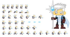 Animated Ice Mage Character Sprites. Animated sprites for ice mage character for creating fantasy RPG adventure video games Stock Photos