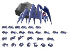 Animated Spider Character Sprites. Animated sprites for spider character for creating action adventure video games Stock Photos
