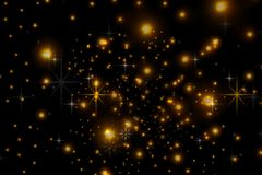 Animated stars on a black background. The starry sky. vector illustration