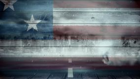 American flag and tornado. Animated storm with tornado on street against american flag painted on wood background stock video