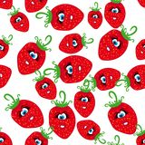 Animated strawberries. Cartoon seamless with animated strawberries. Abstract  illustration Royalty Free Stock Images