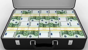 Animated Suitcase with Stacks of 100 Euro stock footage