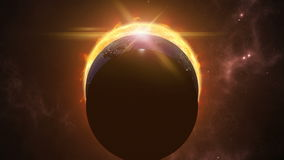 Animated sun, moon and earth globes. Eclips in cosmic scene. 3D rendering 4K