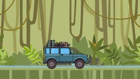 Animated SUV car with luggage on the roof trunk riding through the rainforest. Moving off-road vehicle on jungle forest. Background. Flat animation stock video