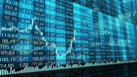 Animated table and bar graph of stock exchange market indices. stock video footage