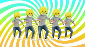 Animated Team Human Funny and Lucky Dynamic Dancing in Comical Rhythm Beat Loop. Male Funny and Lucky Team Dancing in Comical Rhythm of dj mix 80s 90s. 3d royalty free illustration