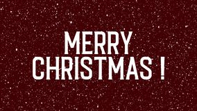 Animated text of Merry Christmas on red background with snowflakes. vector illustration