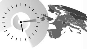 Ticking Clock Video. Animated Ticking Clock against animated white and black Europe map vector illustration