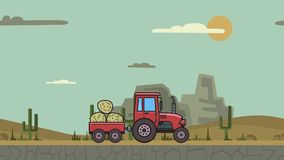 Animated tractor with trolley full of hay riding through canyon desert. Moving farm vehicle on mountain desert