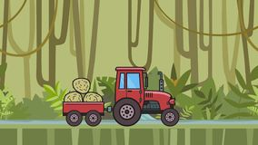 Animated tractor with trolley full of hay riding through rainforest. Moving farm vehicle on tropical jungle and river. Background. Flat animation stock footage