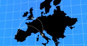 Animated Travel and Business Trip Infographic on Black Europe Earth Map 4k Rendered. Video stock video footage