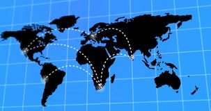 Animated Travel and Business Trip Infographic on Black Planet Earth Map 4k Rendered Video. Animated Travel and Business Trip Infographic on Black Planet Earth stock video footage