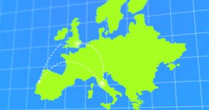 Animated Travel and Business Trip Infographic on Green Europe Earth Map 4k Rendered Video. Animated Travel and Business Trip Infographic on Europe Earth Map 4k stock video