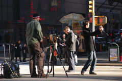 Animated TV crew, New York Royalty Free Stock Photography