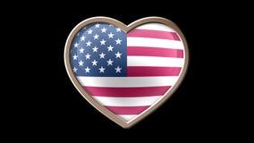 USA flag heart isolated on black luma matte. Patriotism