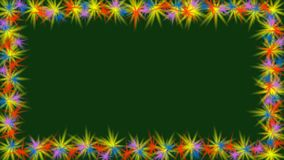 Animated video frame with small multicolored rotating stars on border. Small flowers on dark green background, copry. Space, spring thema, FullHD video vector illustration