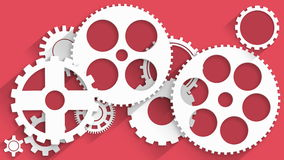 Animated white gears on red background stock footage